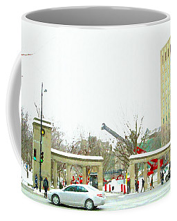 Coffee Mug featuring the painting Mcgill Campus Student Cycles By Roddick Gates Sherbrooke St Montreal Winter Scene Carole Spandau  by Carole Spandau