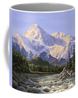 Majestic Denali Mountain Landscape - Alaska Painting - Mountains And River - Wilderness Decor Coffee Mug