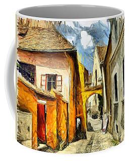 Medieval Street In Sighisoara Transylvania Romania - Painting Coffee Mug