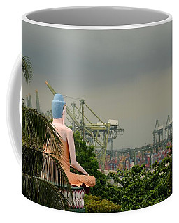 Coffee Mug featuring the photograph Meditating Buddha Views Container Seaport Singapore by Imran Ahmed