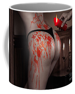Melted Red Wax Dripping From Candle On Sexy Woman Body Coffee Mug
