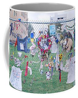 Mementos On Chain Link Fence, Memorial Coffee Mug