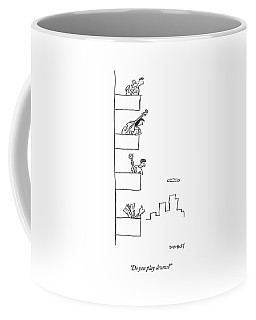 Men Playing Instruments On Different Levels Coffee Mug