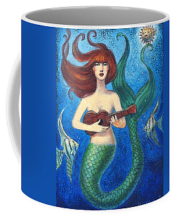 Coffee Mug featuring the painting Mermaid Ukulele Angels by Sue Halstenberg