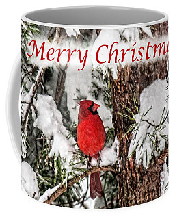 Coffee Mug featuring the photograph Merry Christmas Cardinal by Lara Ellis