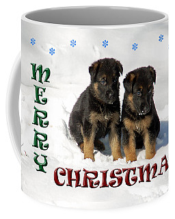 Merry Christmas Puppies Coffee Mug