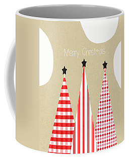Merry Christmas With Red And White Trees Coffee Mug