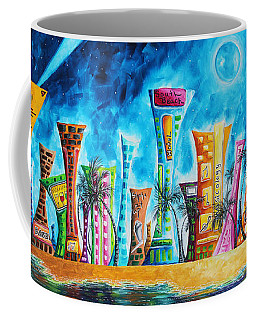Miami City South Beach Original Painting Tropical Cityscape Art Miami Night Life By Madart Absolut X Coffee Mug