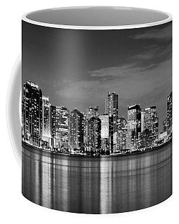 Miami Skyline At Dusk Black And White Bw Panorama Coffee Mug