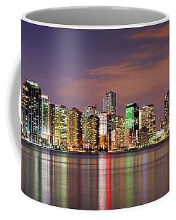 Miami Skyline At Dusk Sunset Panorama Coffee Mug