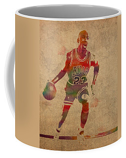 Michael Jordan Chicago Bulls Vintage Basketball Player Watercolor Portrait On Worn Distressed Canvas Coffee Mug