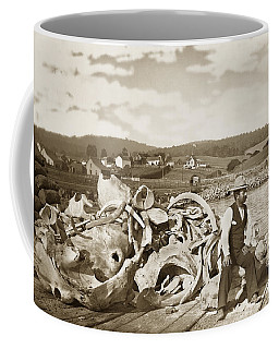 Michael Noon Sitting On A  Pile Of Whale Bones Monterey Wharf  Circa 1896 Coffee Mug