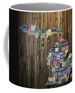 Michigan Counties State License Plate Map Coffee Mug