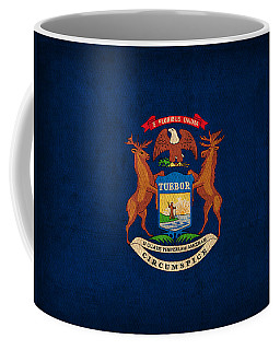 Michigan State Flag Art On Worn Canvas Coffee Mug