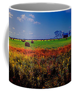 Michigan Uper  Farm Barn And Rolls Of Hay Brimly Michigan Coffee Mug