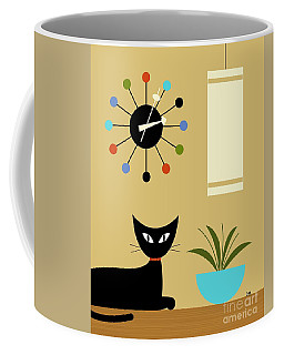 Coffee Mug featuring the digital art Mid Century Ball Clock 2 by Donna Mibus