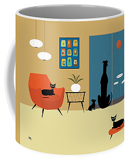 Coffee Mug featuring the digital art Mid Century Dogs And Cats by Donna Mibus
