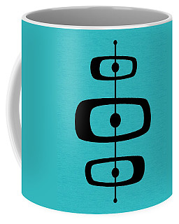 Coffee Mug featuring the digital art Mid Century Shapes 2 On Turquoise by Donna Mibus