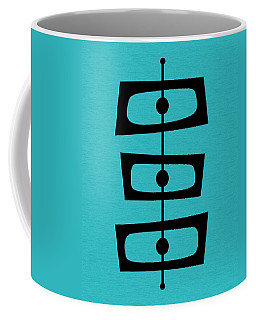 Coffee Mug featuring the digital art Mid Century Shapes On Turquoise by Donna Mibus