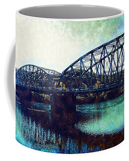 Coffee Mug featuring the photograph Mid-delaware River Bridge by Janine Riley