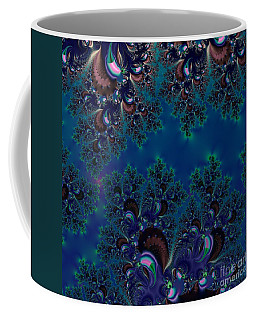 Coffee Mug featuring the digital art Midnight Blue Frost Crystals Fractal by Rose Santuci-Sofranko