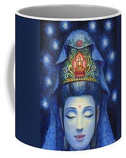 Coffee Mug featuring the painting Midnight Meditation Kuan Yin by Sue Halstenberg