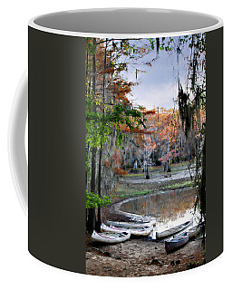 Coffee Mug featuring the photograph Mill Pond Canoes by Lana Trussell