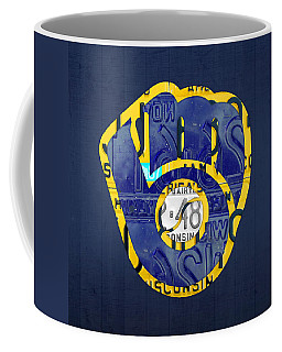 Milwaukee Brewers Vintage Baseball Team Logo Recycled Wisconsin License Plate Art Coffee Mug