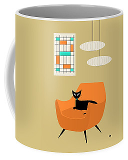 Coffee Mug featuring the digital art Mini Abstract With Orange Chair by Donna Mibus