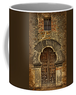 Coffee Mug featuring the photograph Mission Espada Doorway by Jemmy Archer