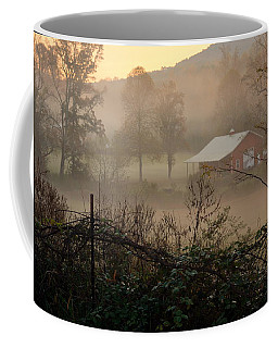 Misty Morn And Horse Coffee Mug by Kathy Barney