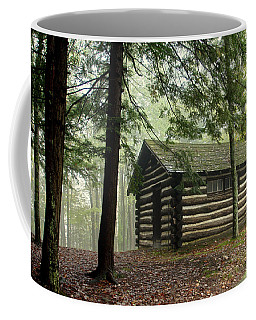 Coffee Mug featuring the photograph Misty Morning Cabin by Suzanne Stout