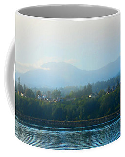 Misty Morning In Port Angeles Coffee Mug by Connie Fox