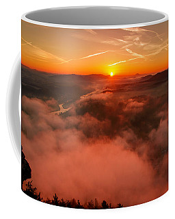 Misty Sunrise On The Lilienstein Coffee Mug