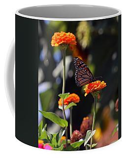 Monarch Butterfly And Orange Zinnias Coffee Mug by Kay Novy