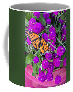 Monarch On Bachelor Buttons Coffee Mug