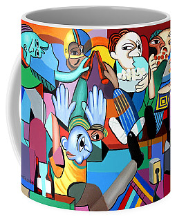 Coffee Mug featuring the painting Monday Night Football by Anthony Falbo
