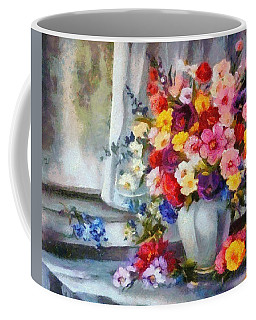 Coffee Mug featuring the digital art Monet Floral Edged by Catherine Lott