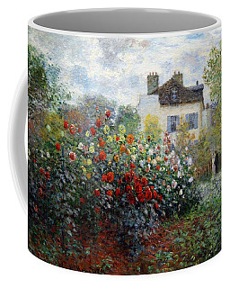 Coffee Mug featuring the photograph Monet's The Artist's Garden In Argenteuil  -- A Corner Of The Garden With Dahlias by Cora Wandel
