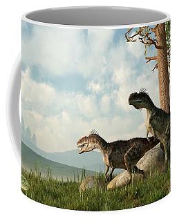 Monolophosaurs On The Hunt Coffee Mug