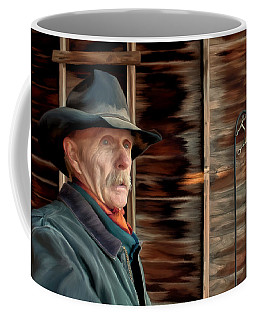 Coffee Mug featuring the painting Montana Cowboy by Michael Pickett