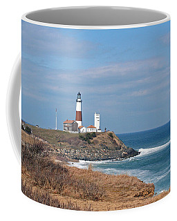 Coffee Mug featuring the photograph Montauk Lighthouse/camp Hero by Karen Silvestri