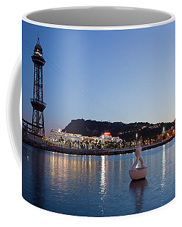 Montjuic And Torre Jaume I At Dusk In Barcelona Coffee Mug