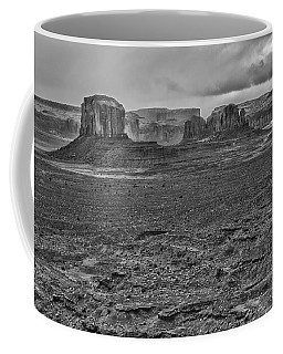 Coffee Mug featuring the photograph Monument Valley 4 Bw by Ron White