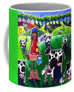 Coffee Mug featuring the painting Moo Cow Farm by Jackie Carpenter