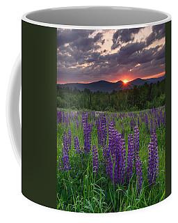 Moody Sunrise Over Lupine Field Coffee Mug