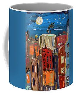 Moon And Deep Blue Sky Coffee Mug