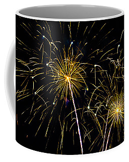 Moon Over Golden Starburst- July Fourth - Fireworks Coffee Mug