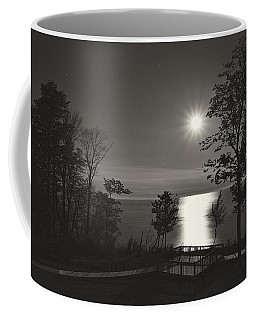 Moon Over Lake Michigan In  Black And White Coffee Mug