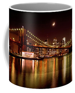 Moon Over The Brooklyn Bridge Coffee Mug